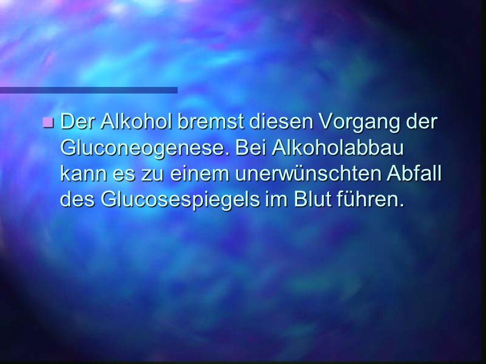 Der Alkohol bremst diesen Vorgang der Gluconeogenese. Bei Alkoholabbau kann es zu einem unerwünschten Abfall des Glucosespiegels im Blut führen. Der A