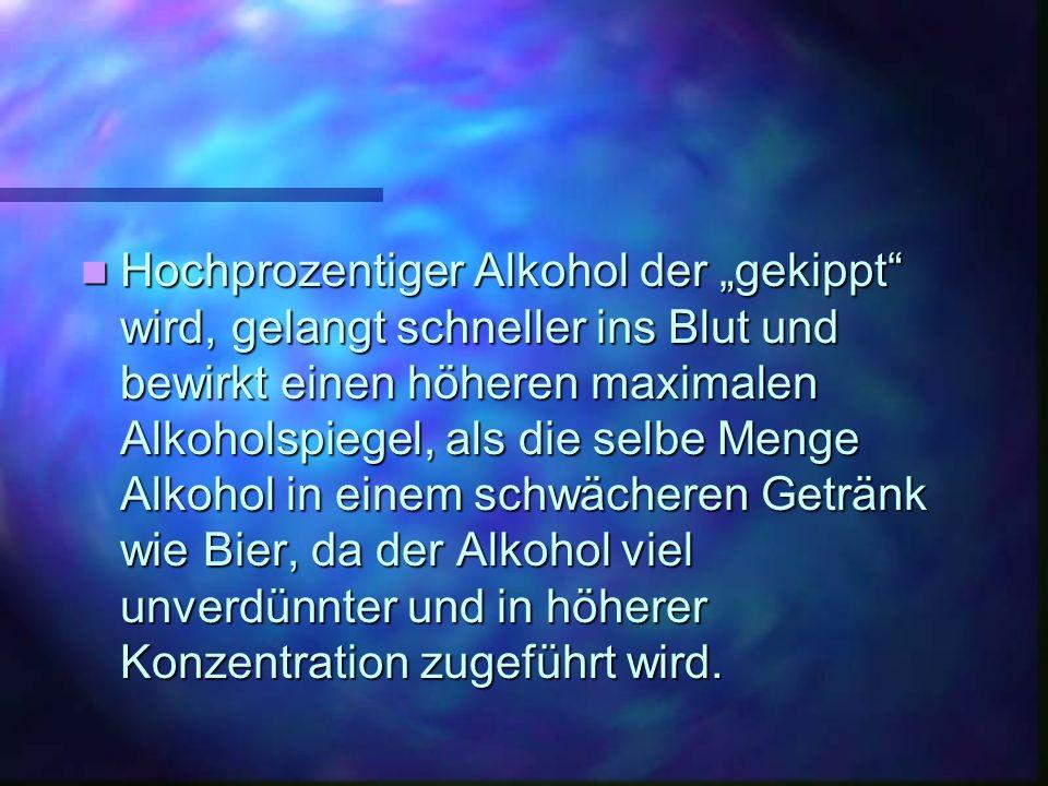 Hochprozentiger Alkohol der gekippt wird, gelangt schneller ins Blut und bewirkt einen höheren maximalen Alkoholspiegel, als die selbe Menge Alkohol in einem schwächeren Getränk wie Bier, da der Alkohol viel unverdünnter und in höherer Konzentration zugeführt wird.