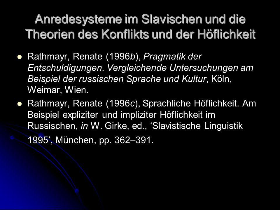 Anredesysteme im Slavischen und die Theorien des Konflikts und der Höflichkeit Rathmayr, Renate (1996b), Pragmatik der Entschuldigungen. Vergleichende