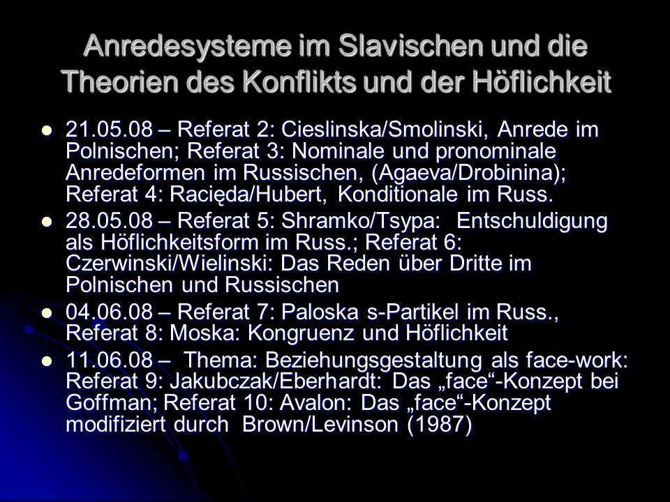 Anredesysteme im Slavischen und die Theorien des Konflikts und der Höflichkeit 21.05.08 – Referat 2: Cieslinska/Smolinski, Anrede im Polnischen; Refer