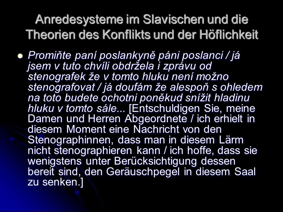 Anredesysteme im Slavischen und die Theorien des Konflikts und der Höflichkeit Promiňte paní poslankyně páni poslanci / já jsem v tuto chvíli obdržela