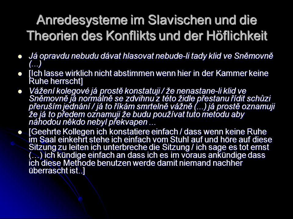 Anredesysteme im Slavischen und die Theorien des Konflikts und der Höflichkeit Já opravdu nebudu dávat hlasovat nebude-li tady klid ve Sněmovně (...)