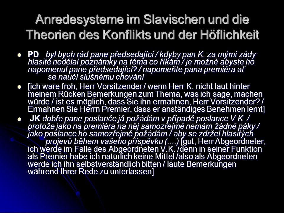 Anredesysteme im Slavischen und die Theorien des Konflikts und der Höflichkeit PD byl bych rád pane předsedající / kdyby pan K. za mými zády hlasitě n