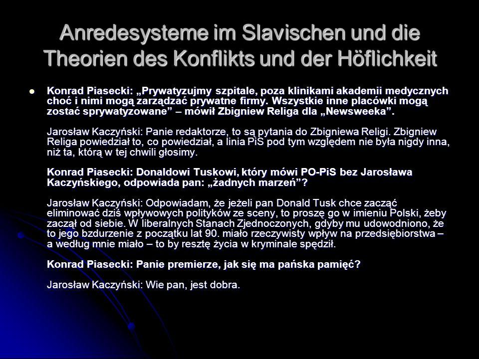 Anredesysteme im Slavischen und die Theorien des Konflikts und der Höflichkeit Konrad Piasecki: Prywatyzujmy szpitale, poza klinikami akademii medyczn