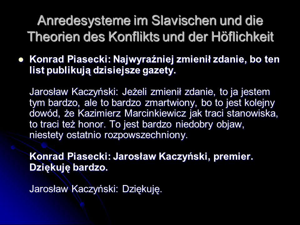 Anredesysteme im Slavischen und die Theorien des Konflikts und der Höflichkeit Konrad Piasecki: Najwyraźniej zmienił zdanie, bo ten list publikują dzi