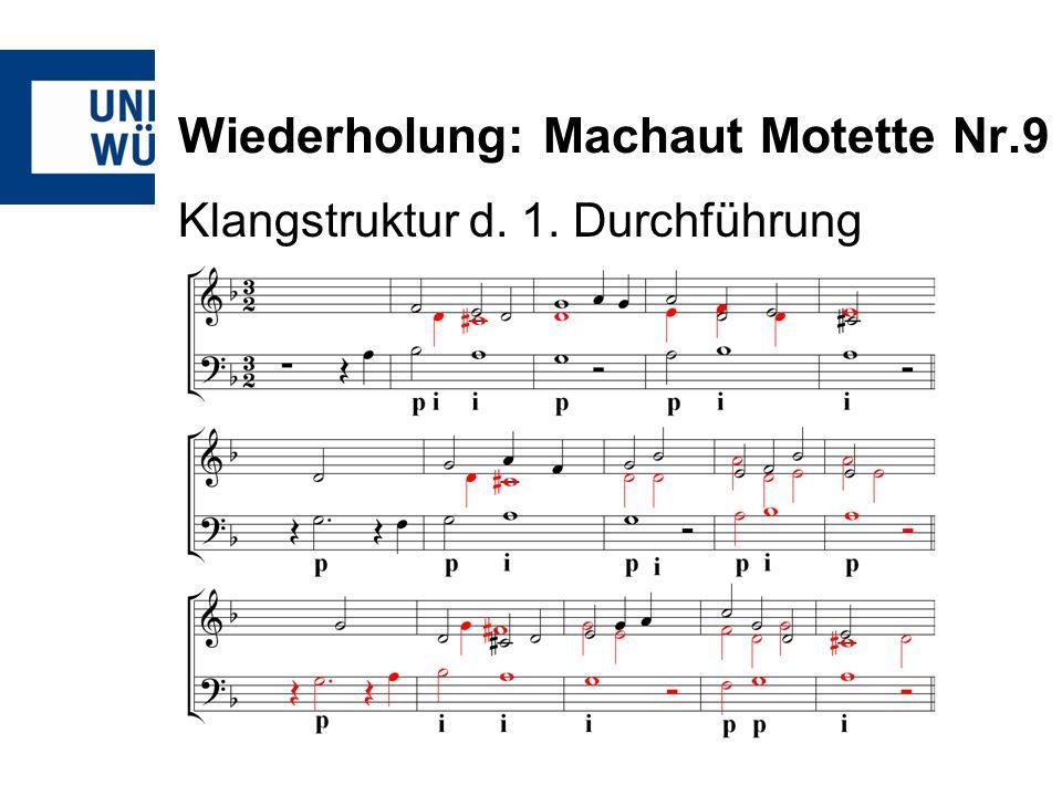 Wiederholung: Machaut Motette Nr.9 Klangstruktur d. 1. Durchführung