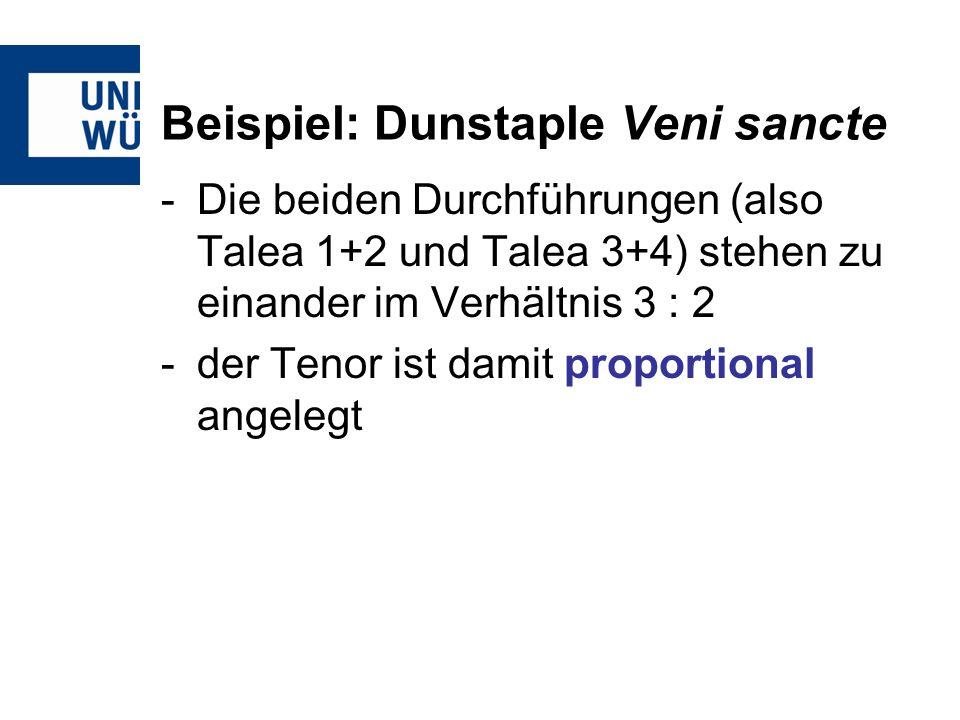 Beispiel: Dunstaple Veni sancte -Die beiden Durchführungen (also Talea 1+2 und Talea 3+4) stehen zu einander im Verhältnis 3 : 2 -der Tenor ist damit proportional angelegt