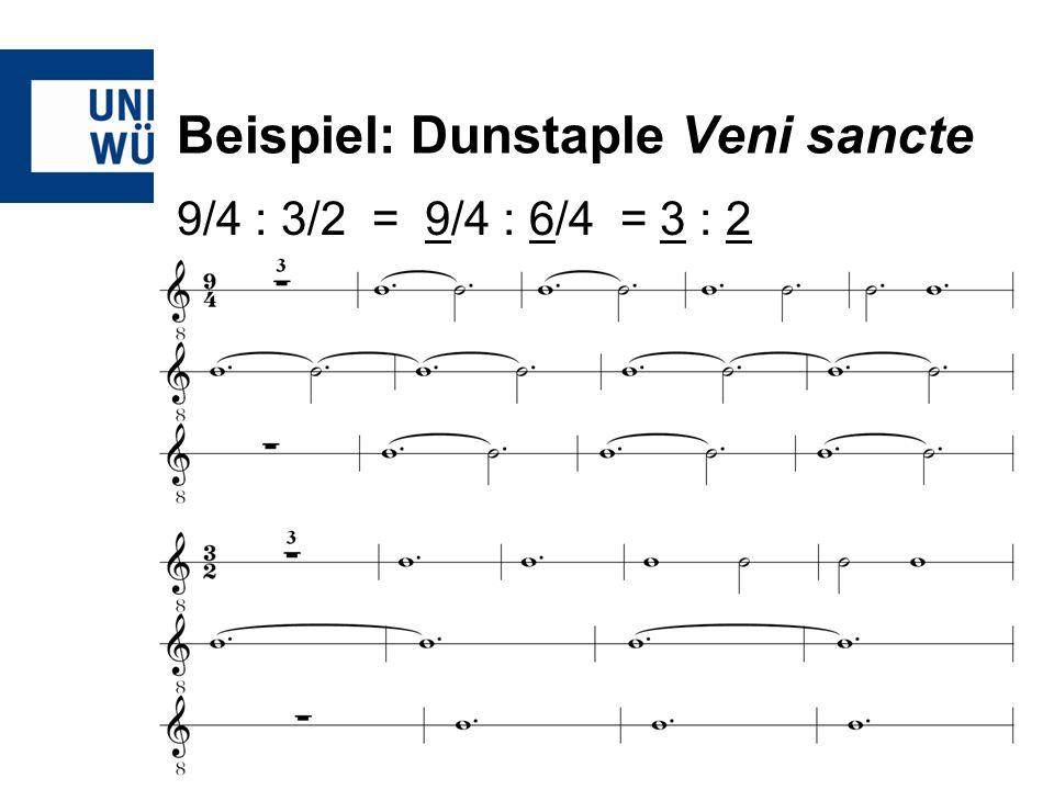 Beispiel: Dunstaple Veni sancte 9/4 : 3/2 = 9/4 : 6/4 = 3 : 2