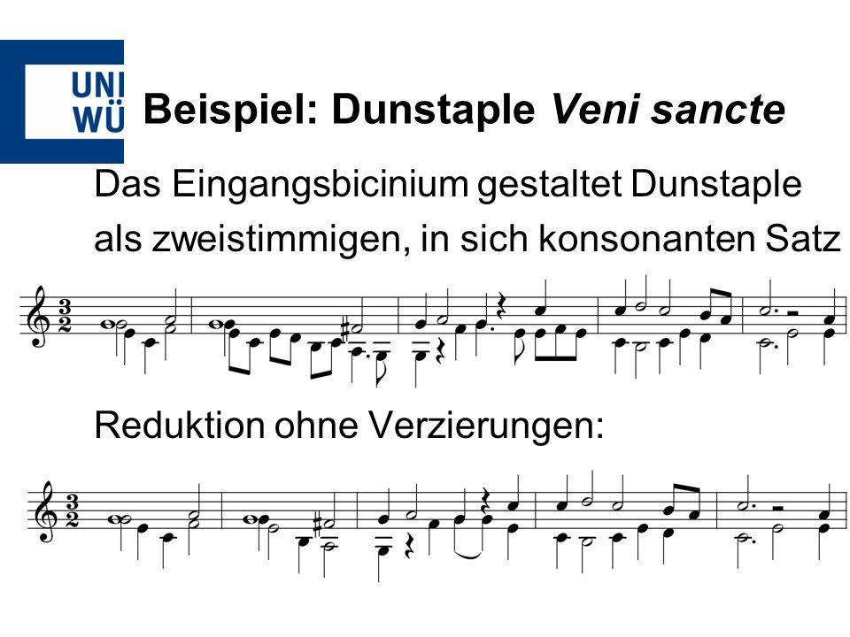 Beispiel: Dunstaple Veni sancte Das Eingangsbicinium gestaltet Dunstaple als zweistimmigen, in sich konsonanten Satz Reduktion ohne Verzierungen: