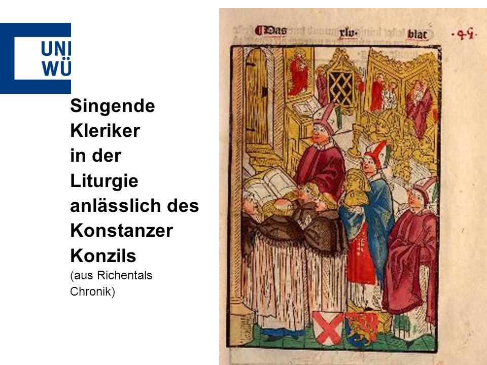 Singende Kleriker in der Liturgie anlässlich des Konstanzer Konzils (aus Richentals Chronik)
