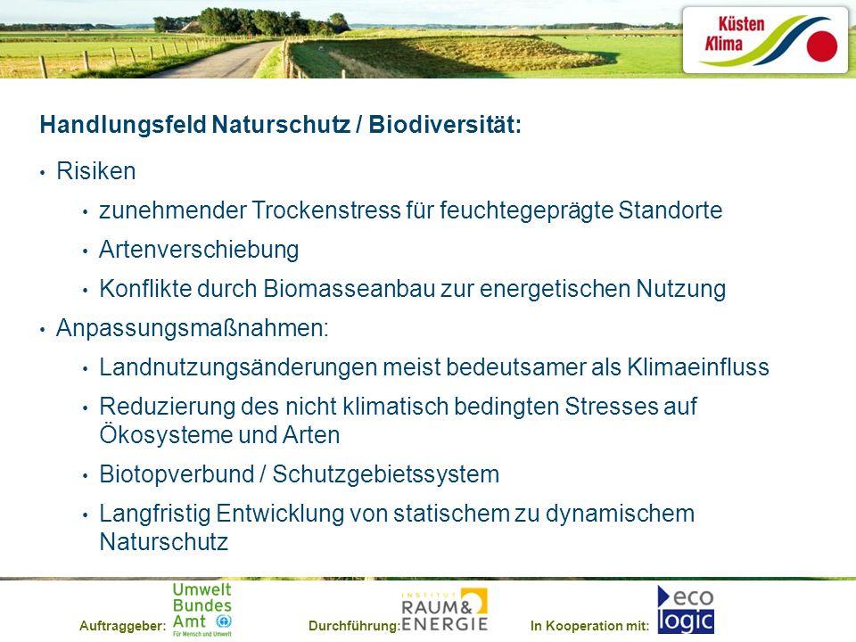 Auftraggeber:Durchführung:In Kooperation mit: Handlungsfeld Naturschutz / Biodiversität: Risiken zunehmender Trockenstress für feuchtegeprägte Standor
