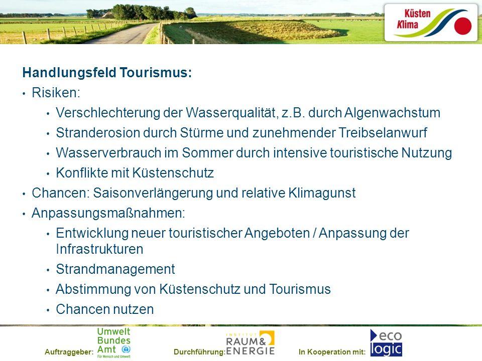 Auftraggeber:Durchführung:In Kooperation mit: Handlungsfeld Tourismus: Risiken: Verschlechterung der Wasserqualität, z.B. durch Algenwachstum Strander