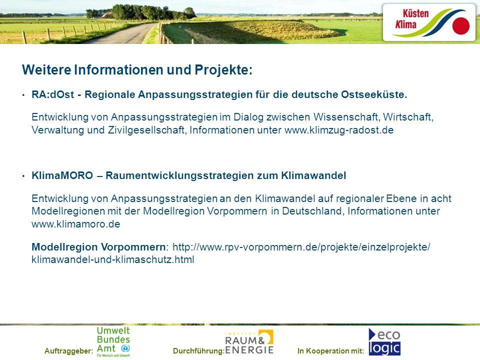 Auftraggeber:Durchführung:In Kooperation mit: Weitere Informationen und Projekte: RA:dOst - Regionale Anpassungsstrategien für die deutsche Ostseeküst