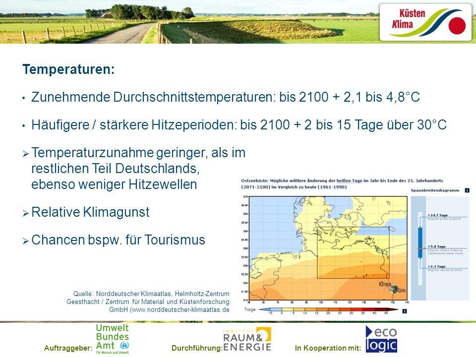 Auftraggeber:Durchführung:In Kooperation mit: Temperaturen: Zunehmende Durchschnittstemperaturen: bis 2100 + 2,1 bis 4,8°C Häufigere / stärkere Hitzep
