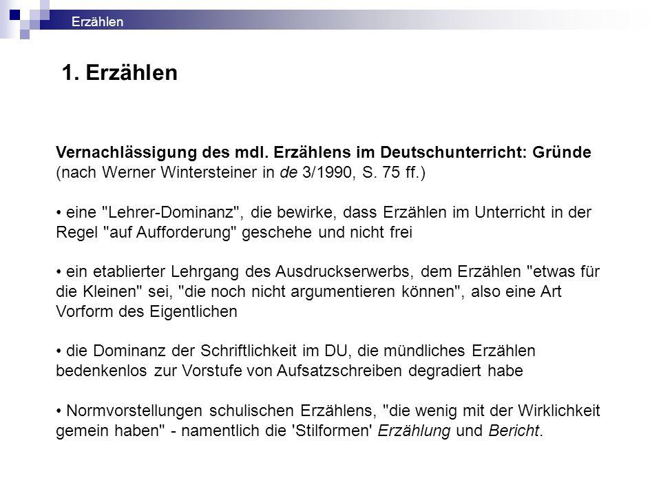 Vernachlässigung des mdl. Erzählens im Deutschunterricht: Gründe (nach Werner Wintersteiner in de 3/1990, S. 75 ff.) eine