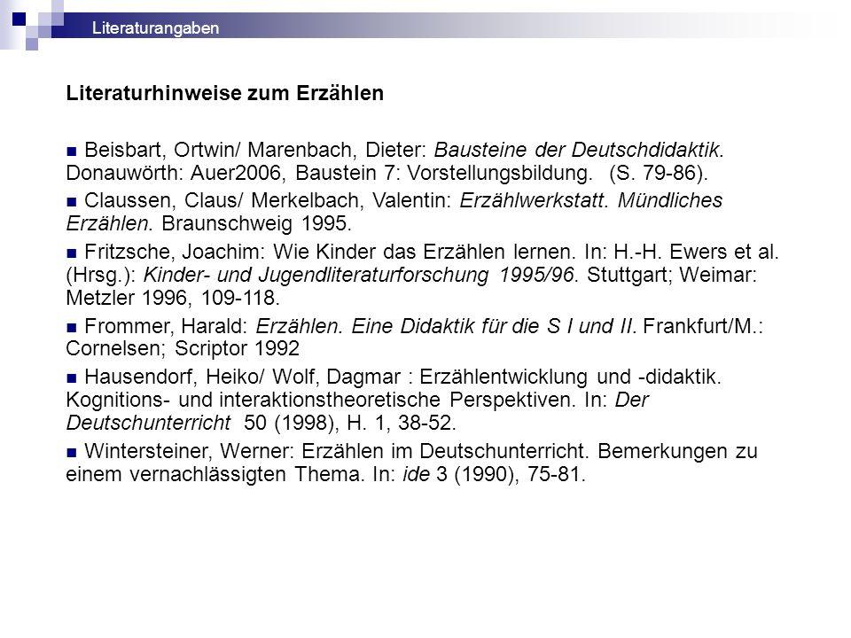 Literaturhinweise zum Erzählen Beisbart, Ortwin/ Marenbach, Dieter: Bausteine der Deutschdidaktik. Donauwörth: Auer2006, Baustein 7: Vorstellungsbildu