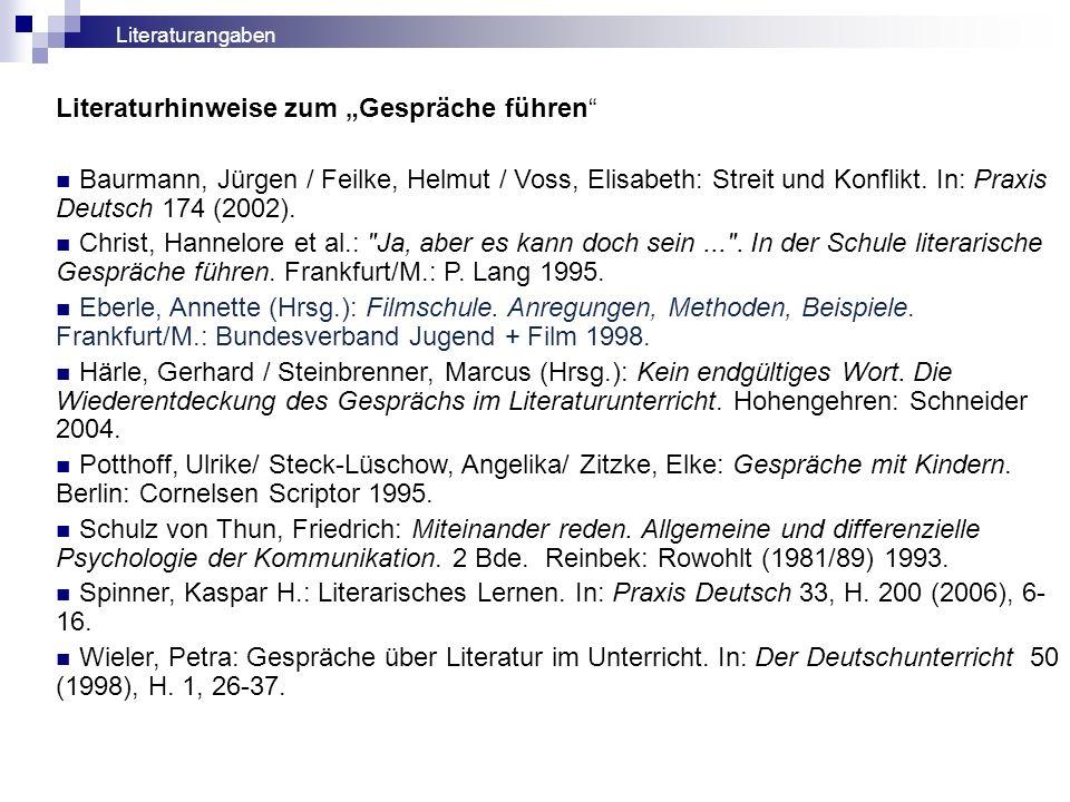 Literaturhinweise zum Gespräche führen Baurmann, Jürgen / Feilke, Helmut / Voss, Elisabeth: Streit und Konflikt. In: Praxis Deutsch 174 (2002). Christ