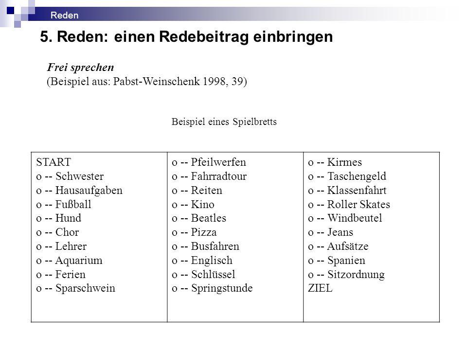 Frei sprechen (Beispiel aus: Pabst-Weinschenk 1998, 39) Beispiel eines Spielbretts START o -- Schwester o -- Hausaufgaben o -- Fußball o -- Hund o --