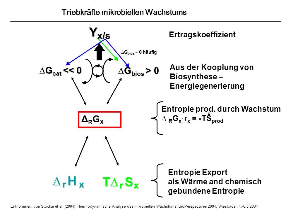 Entropie prod. durch Wachstum R G x. r x = -TS prod °Yx/s H r x T S r x r x Ertragskoeffizient Entropie Export als Wärme and chemisch gebundene Entrop