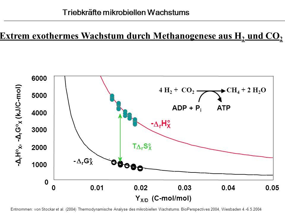 4 H 2 + CO 2 CH 4 + 2 H 2 O ADP + P i ATP 0 1000 2000 3000 4000 5000 6000 00.010.020.030.040.05 Y X/D (C-mol/mol) T r S° X - r G° X - r H° X Extrem ex