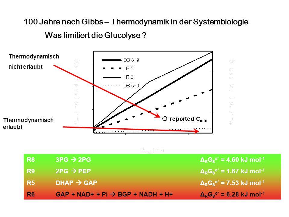 Was limitiert die Glucolyse ? R8 3PG 2PG Δ R G 8 o = 4.60 kJ mol -1 R9 2PG PEP Δ R G 8 o = 1.67 kJ mol -1 R5 DHAP GAP Δ R G 8 o = 7.53 kJ mol -1 R6 GA
