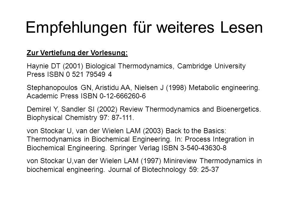 Empfehlungen für weiteres Lesen Zur Vertiefung der Vorlesung: Haynie DT (2001) Biological Thermodynamics, Cambridge University Press ISBN 0 521 79549