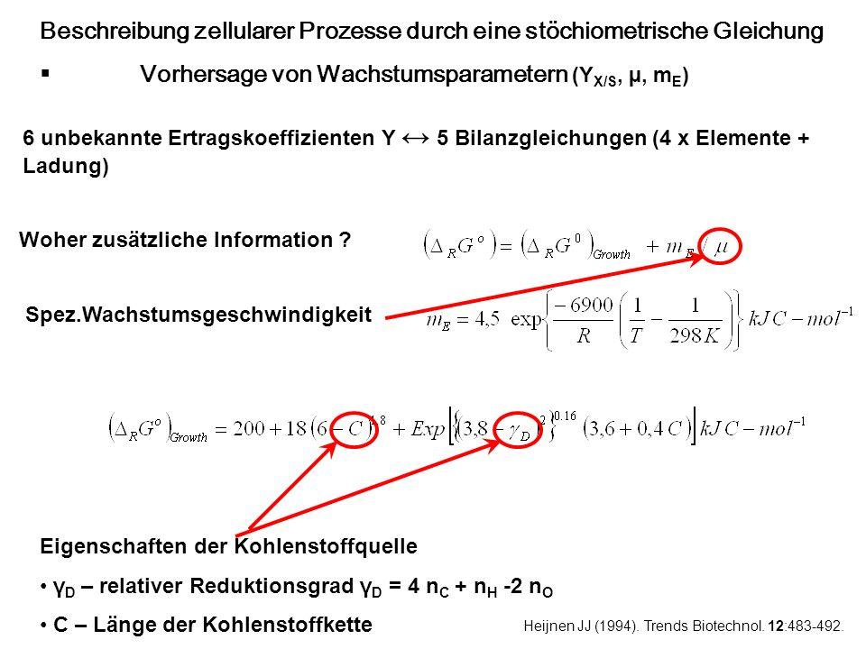 Beschreibung zellularer Prozesse durch eine stöchiometrische Gleichung Vorhersage von Wachstumsparametern (Y X/S, µ, m E ) 6 unbekannte Ertragskoeffiz