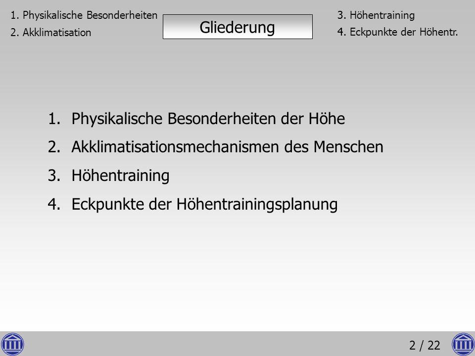 2 / 22 Gliederung 1.Physikalische Besonderheiten der Höhe 2.Akklimatisationsmechanismen des Menschen 3.Höhentraining 4.Eckpunkte der Höhentrainingspla