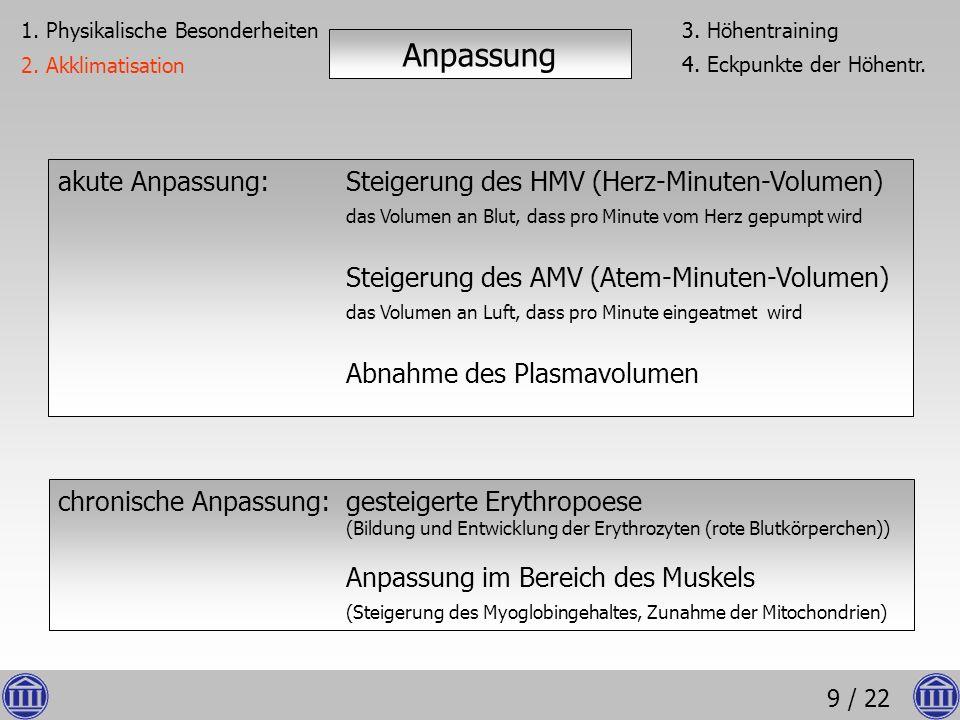 9 / 22 akute Anpassung:Steigerung des HMV (Herz-Minuten-Volumen) das Volumen an Blut, dass pro Minute vom Herz gepumpt wird Steigerung des AMV (Atem-M
