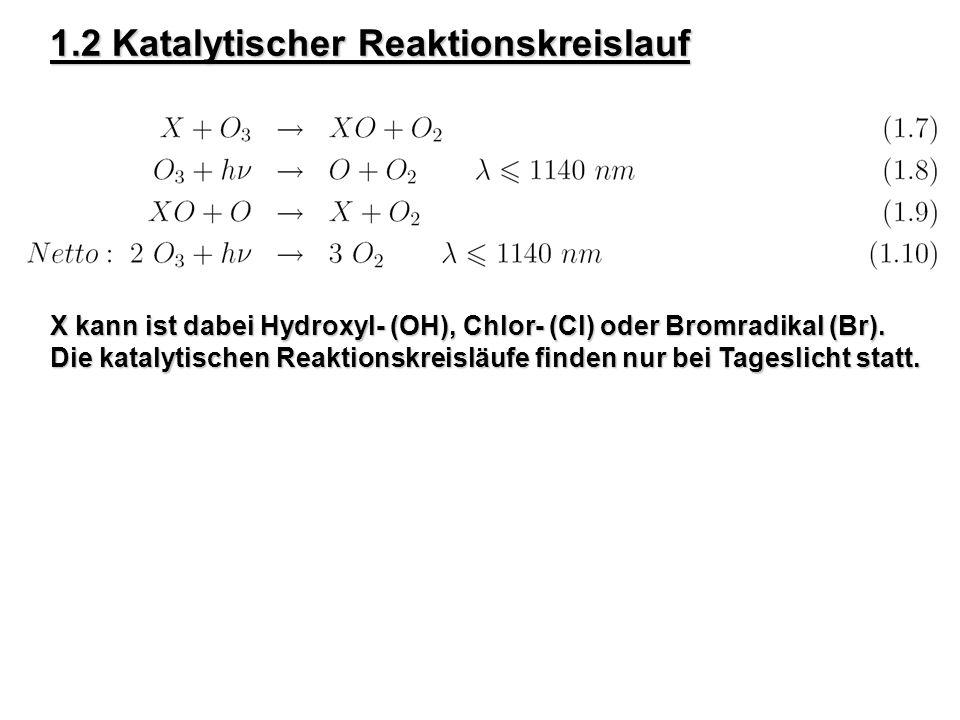 1.2 Katalytischer Reaktionskreislauf X kann ist dabei Hydroxyl- (OH), Chlor- (Cl) oder Bromradikal (Br). Die katalytischen Reaktionskreisläufe finden