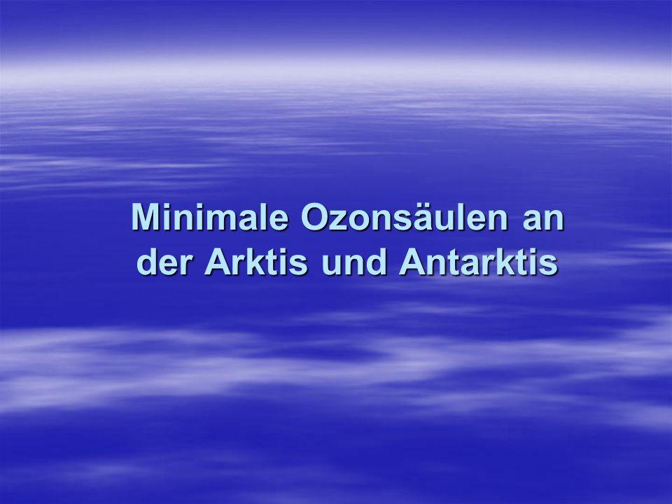 Minimale Ozonsäulen an der Arktis und Antarktis