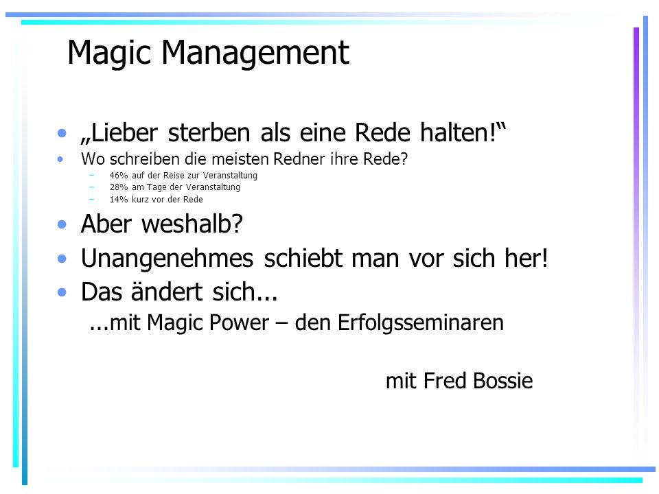 Magic Management Lieber sterben als eine Rede halten.