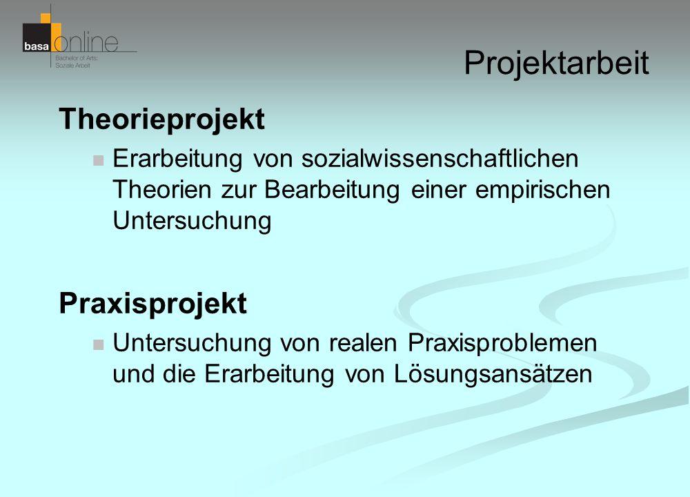 Projektarbeit Theorieprojekt Erarbeitung von sozialwissenschaftlichen Theorien zur Bearbeitung einer empirischen Untersuchung Praxisprojekt Untersuchu