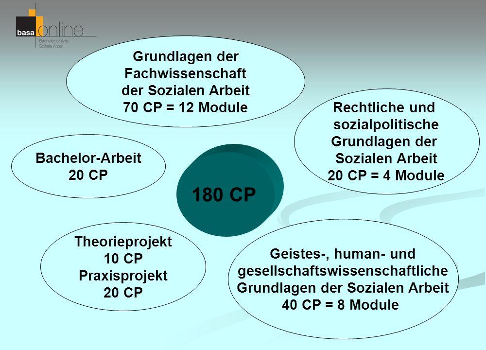 180 CP Theorieprojekt 10 CP Praxisprojekt 20 CP Grundlagen der Fachwissenschaft der Sozialen Arbeit 70 CP = 12 Module Geistes-, human- und gesellschaf