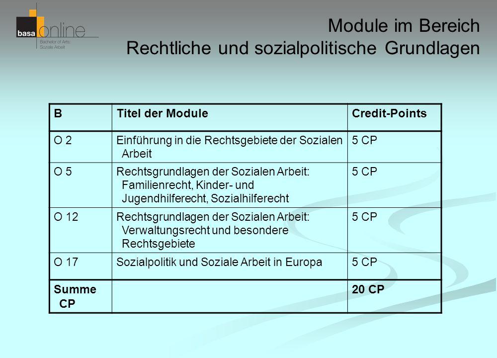 Module im Bereich Rechtliche und sozialpolitische Grundlagen BTitel der ModuleCredit-Points O 2Einführung in die Rechtsgebiete der Sozialen Arbeit 5 C
