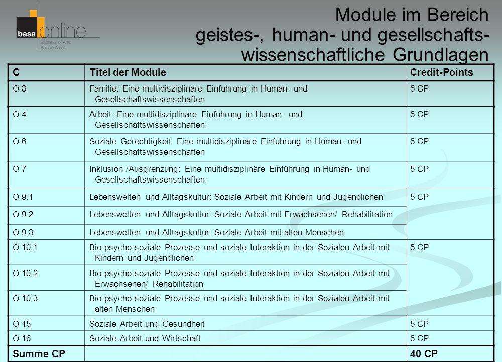 Module im Bereich geistes-, human- und gesellschafts- wissenschaftliche Grundlagen CTitel der ModuleCredit-Points O 3Familie: Eine multidisziplinäre E