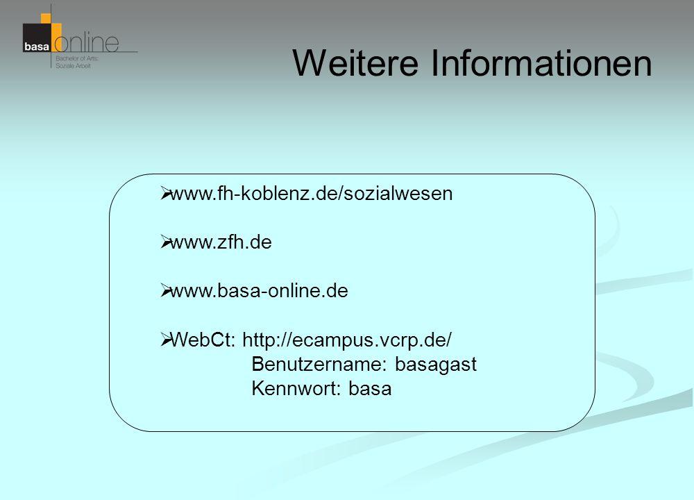 Weitere Informationen www.fh-koblenz.de/sozialwesen www.zfh.de www.basa-online.de WebCt: http://ecampus.vcrp.de/ Benutzername: basagast Kennwort: basa