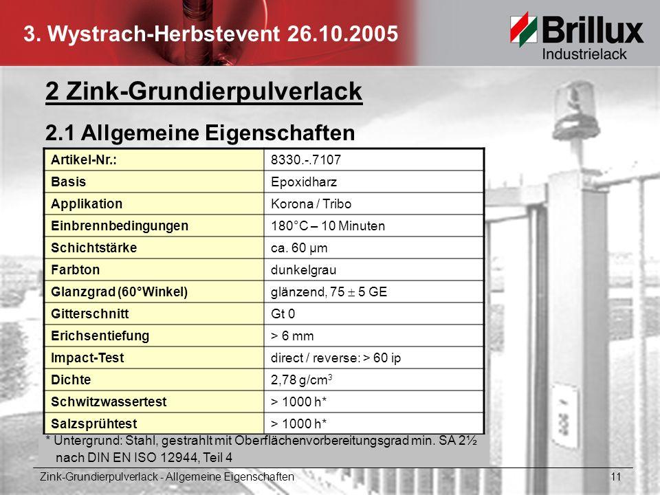 3. Wystrach-Herbstevent 26.10.2005 2 Zink-Grundierpulverlack 2.1 Allgemeine Eigenschaften Artikel-Nr.:8330.-.7107 BasisEpoxidharz ApplikationKorona /