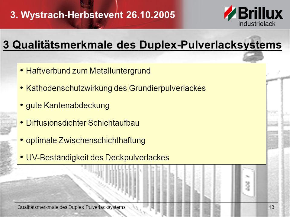 3. Wystrach-Herbstevent 26.10.2005 3 Qualitätsmerkmale des Duplex-Pulverlacksystems Haftverbund zum Metalluntergrund Kathodenschutzwirkung des Grundie