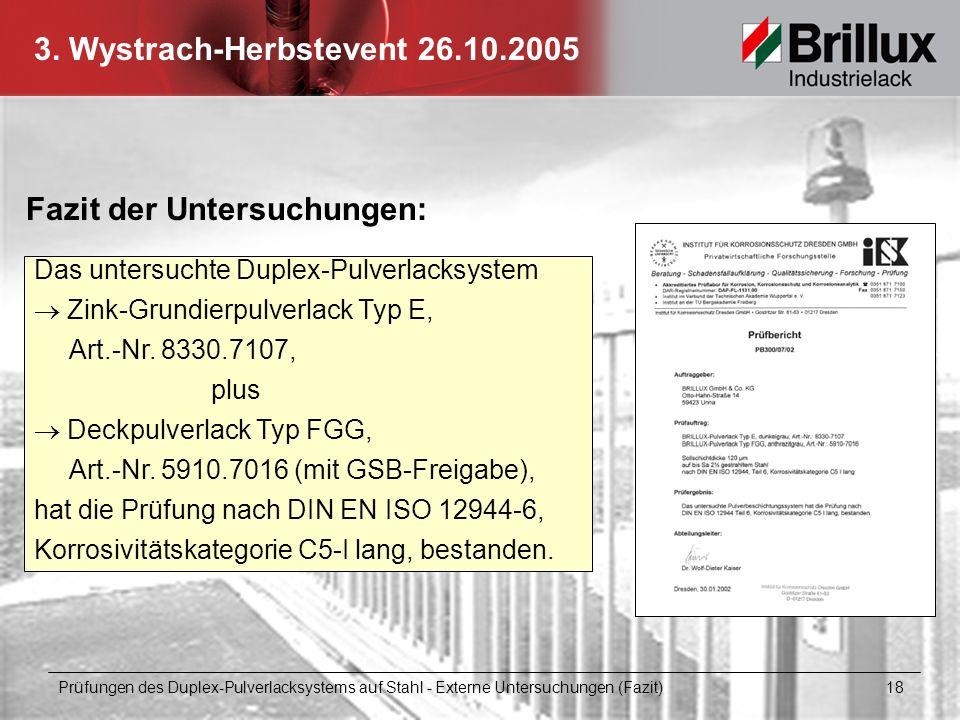 3. Wystrach-Herbstevent 26.10.2005 Fazit der Untersuchungen: Das untersuchte Duplex-Pulverlacksystem Zink-Grundierpulverlack Typ E, Art.-Nr. 8330.7107