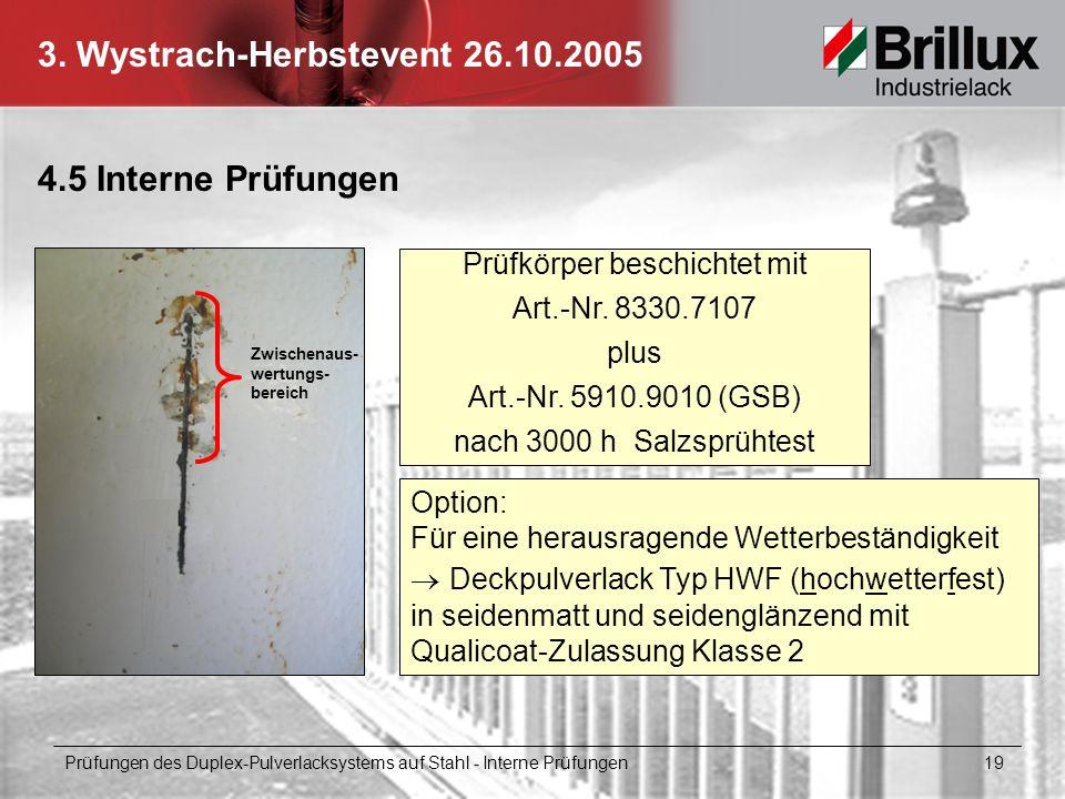 3. Wystrach-Herbstevent 26.10.2005 4.5 Interne Prüfungen Prüfungen des Duplex-Pulverlacksystems auf Stahl - Interne Prüfungen 19 Prüfkörper beschichte