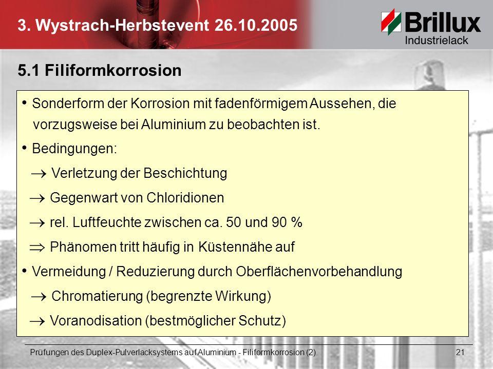 3. Wystrach-Herbstevent 26.10.2005 Prüfungen des Duplex-Pulverlacksystems auf Aluminium - Filiformkorrosion (2) 21 5.1 Filiformkorrosion Sonderform de