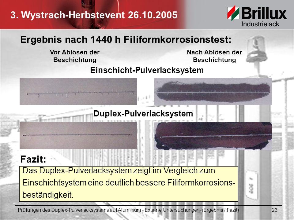 3. Wystrach-Herbstevent 26.10.2005 Prüfungen des Duplex-Pulverlacksystems auf Aluminium - Externe Untersuchungen- (Ergebnis / Fazit) 23 Ergebnis nach