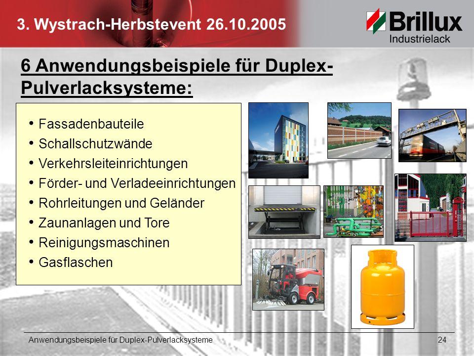 3. Wystrach-Herbstevent 26.10.2005 6 Anwendungsbeispiele für Duplex- Pulverlacksysteme: Anwendungsbeispiele für Duplex-Pulverlacksysteme 24 Gasflasche