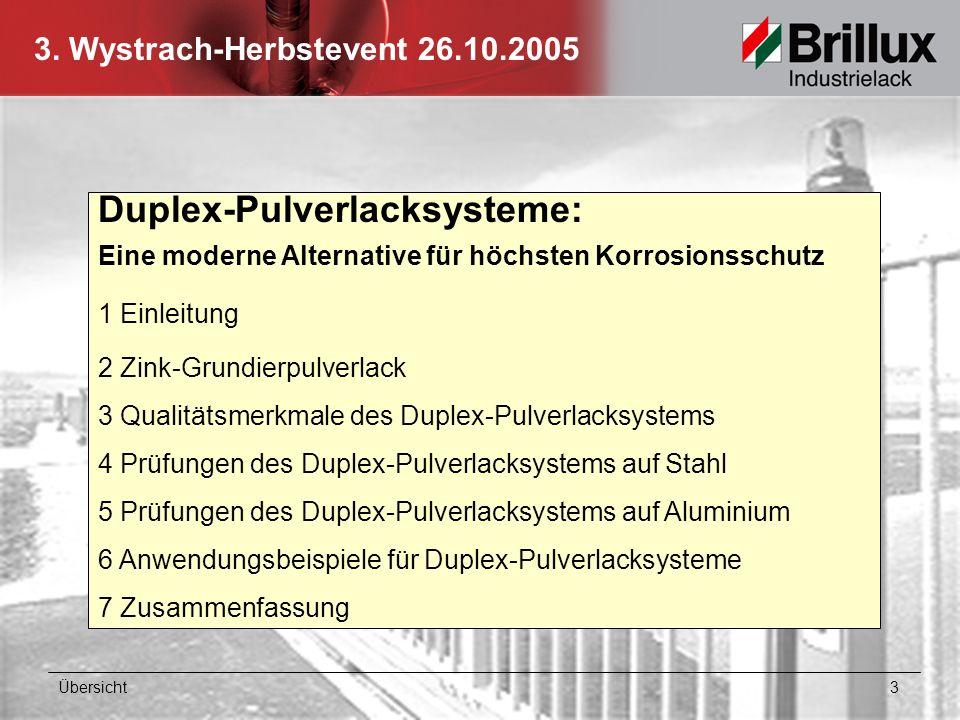 Duplex-Pulverlacksysteme: Eine moderne Alternative für höchsten Korrosionsschutz 1 Einleitung 2 Zink-Grundierpulverlack 3 Qualitätsmerkmale des Duplex