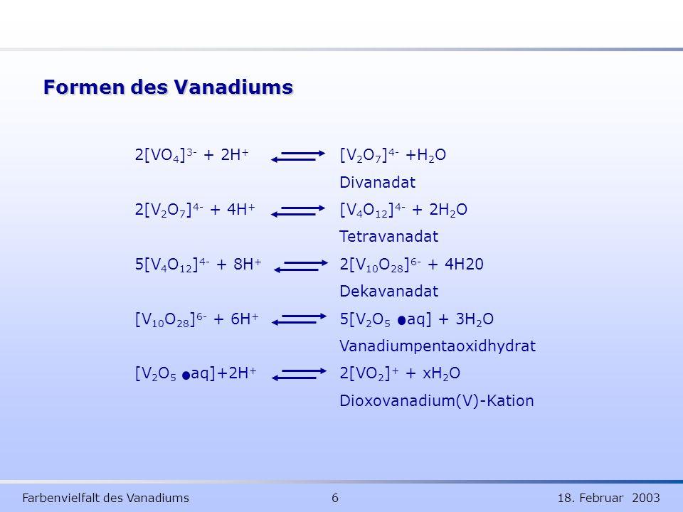 Farbenvielfalt des Vanadiums 6 18. Februar 2003 Formen des Vanadiums 2[VO 4 ] 3- + 2H + [V 2 O 7 ] 4- +H 2 O Divanadat 2[V 2 O 7 ] 4- + 4H + [V 4 O 12