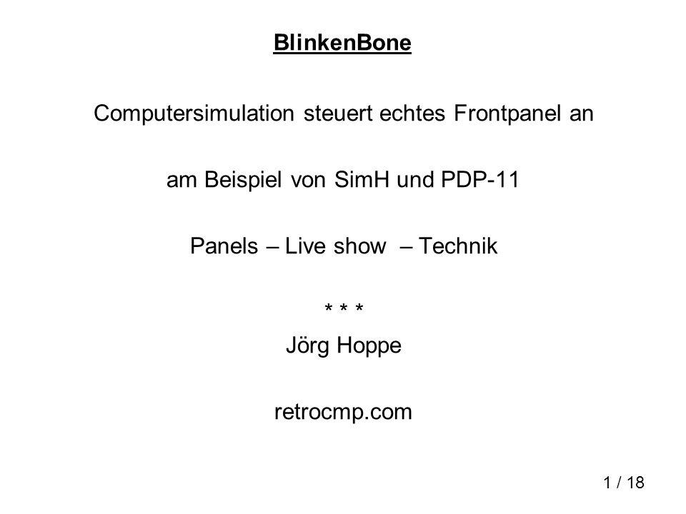 12 / 18 BlinkenCape Micro-Linux-Rechner BeagleBone erzeugt BlinkenBus- Signale Adapterplatine = BlinkenCape: 4 x RS232, BlinkenBus Linux kernel Treiber, /dev/blinkenbus