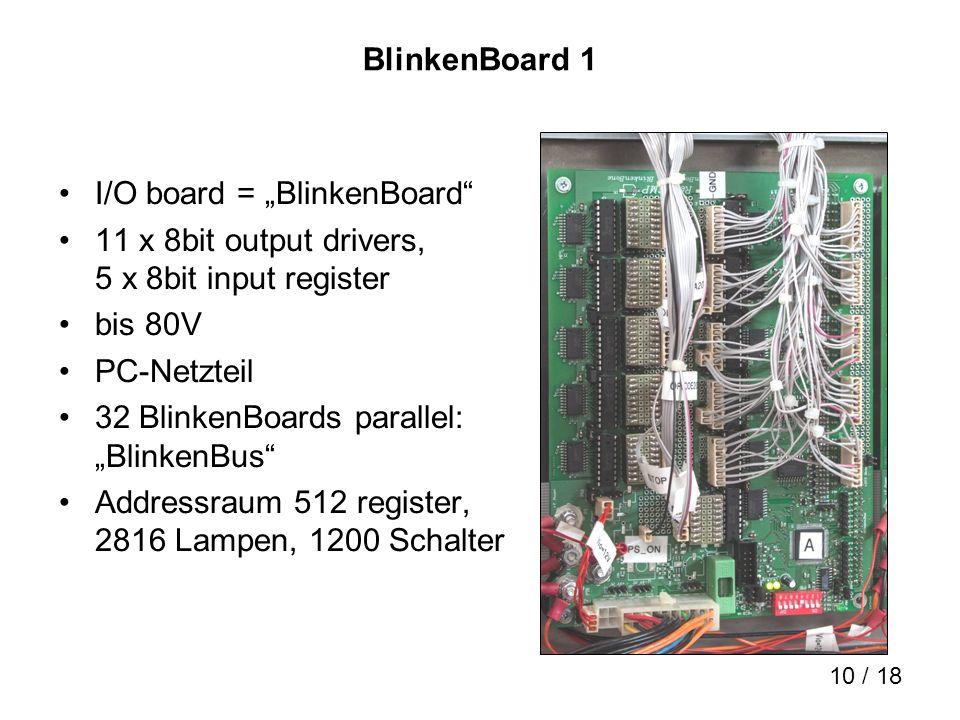 10 / 18 BlinkenBoard 1 I/O board = BlinkenBoard 11 x 8bit output drivers, 5 x 8bit input register bis 80V PC-Netzteil 32 BlinkenBoards parallel: Blink