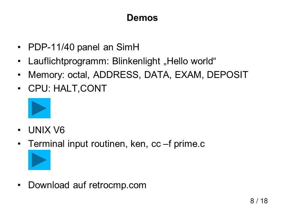 9 / 18 Hardware Software-panel .Echtes Panel an SimH.