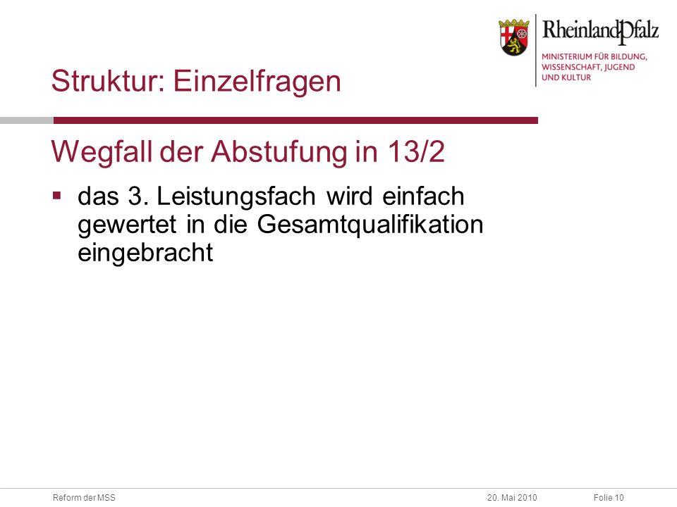 Folie 10Reform der MSS20.Mai 2010 Struktur: Einzelfragen Wegfall der Abstufung in 13/2 das 3.